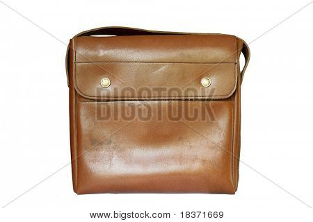 very old brown bag isolated on white background