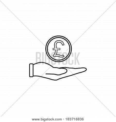 Coin in hand line icon, finance and business, pound coin sign vector graphics, a linear pattern on a white background, eps 10.