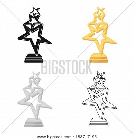 The reward in the form of gold stars on a stand. The award winner of the singing contest.Awards and trophies single icon in cartoon style vector symbol stock web illustration.