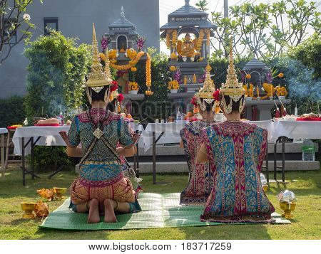 Thai traditional dancing for make a votive offering