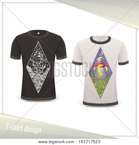 Design tshirts with the image of extraterrestrial guest stealing marijuana. Dark and light on a white background.