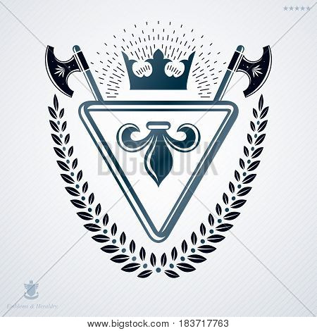 Luxury Heraldic Vector Emblem Template Made Using Hatchets And Monarch Crown