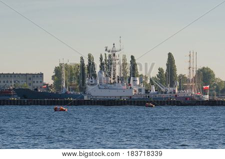 GDYNIA, POLAND - 2016:  Polish Navy ship ORP Hydrograf moored to quay of the port of war