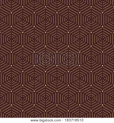 Geometric repeating vector golden ornament with hexagonal dotted elements. Geometric modern ornament. Seamless abstract modern pattern