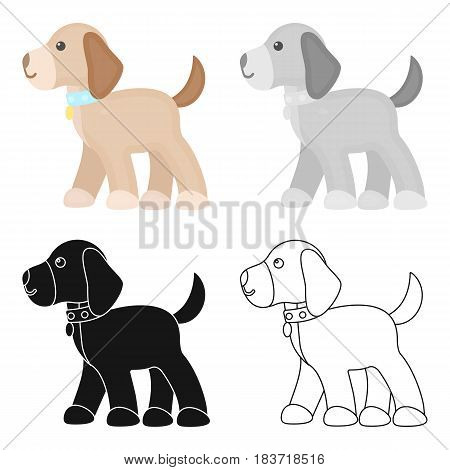 Walking the dog vector illustration icon in cartoon design