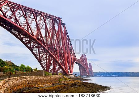 North side of Forth Bridge in Scotland