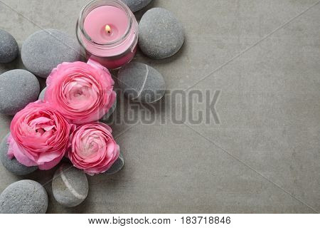Three pink ranunculus flower and stone,candle on gray background