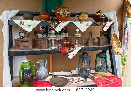 Antiques on the market, various household items