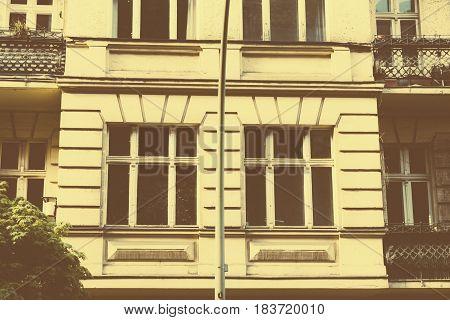 Vintage Photo, Facade Of A Beautiful Old Building In Berlin Kreuzberg