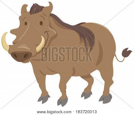 Cartoon Vector  Illustration of Warthog Animal Character