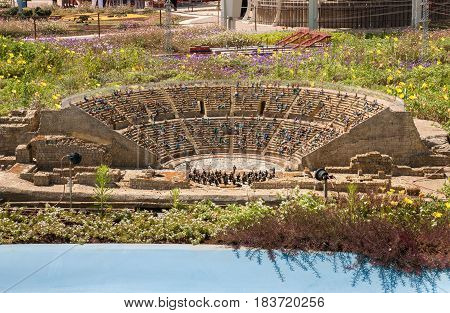 Caesarea Roman Theater At Caesarea Maritima In Mini Israel - A Miniature Park Located Near Latrun