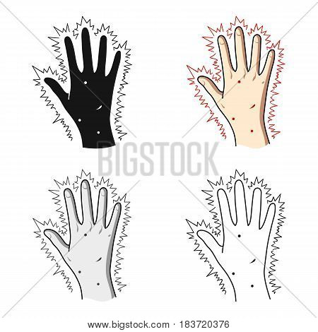 The arm of the patient with diabetes.Hand with eczema from diabetes.Diabetes single icon in cartoon style vector symbol stock web illustration.