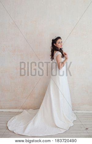 beautiful bride posing wedding hairstyle and dress vintage