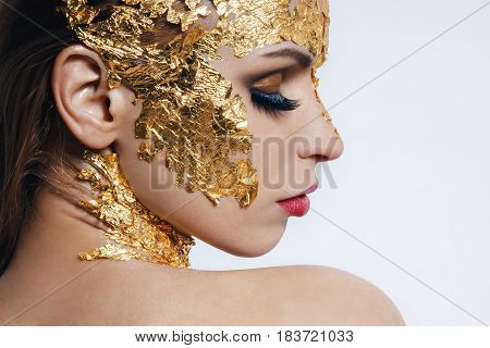 Fashion model girl portrait with colorful make up