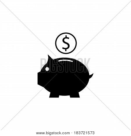 Piggy box solid icon, finance and business, money box with coin vector graphics, a filled pattern on a white background, eps 10.
