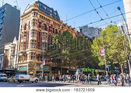Melbourne City Life. People Crossing Collins Street