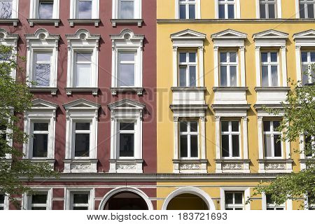 Facade Of A Red And Yellow House In Berlin Kreuzberg