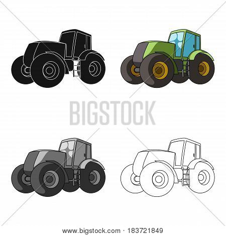 Combine harvesting .Green tractor with large wheels. Agricultural equipment for farmers.Agricultural Machinery single icon in cartoon style vector symbol stock web illustration.