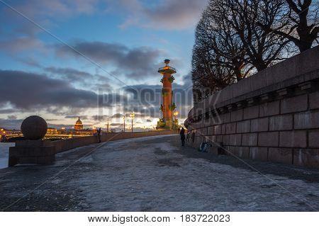 View on Vasilyevsky island in the winter Saint Petersburg Russia