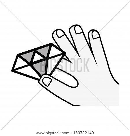 luxury diamond cristal gem in the hand, vector illustration