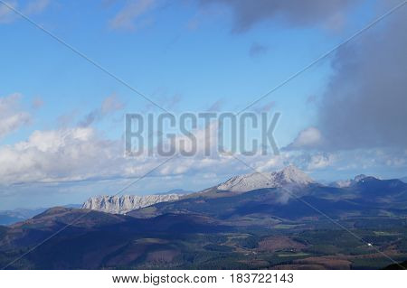 Views of Mount Gorbea, Alava and Vizcaya, Basque Country, Spain