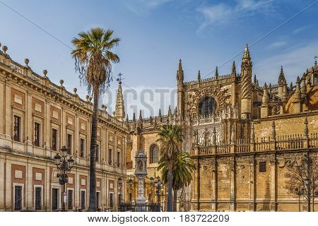 View of Seville Cathedral with General Archive of the Indies Spain