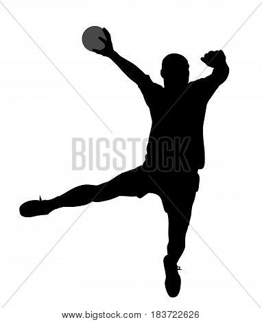 Handball player. Isolated white background. EPS file available.