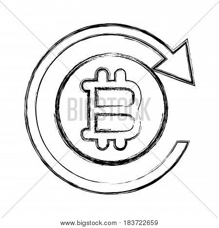 figure bitcoin sign currency with round arrow, vector illustration