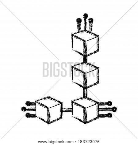 figure cube with circuits network of communicatig bitcoin transactions, vector illustration