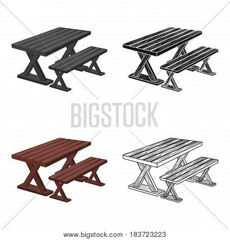Table for rest.BBQ single icon in cartoon style vector symbol stock illustration .