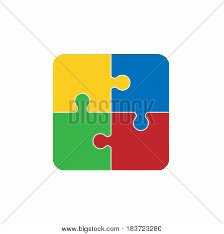Four piece flat puzzle round infographic presentation. isolated on background. Vector illustration. Eps 10.