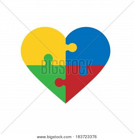 puzzle pieces in form of heart isolated on white background. Vector illustration. Eps 10.