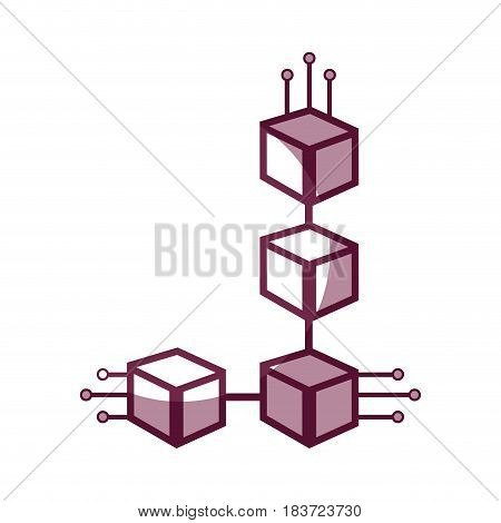 cube with circuits network of communicatig bitcoin transactions, vector illustration