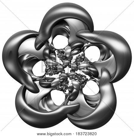 3D illustration of abstract figure looks like flower