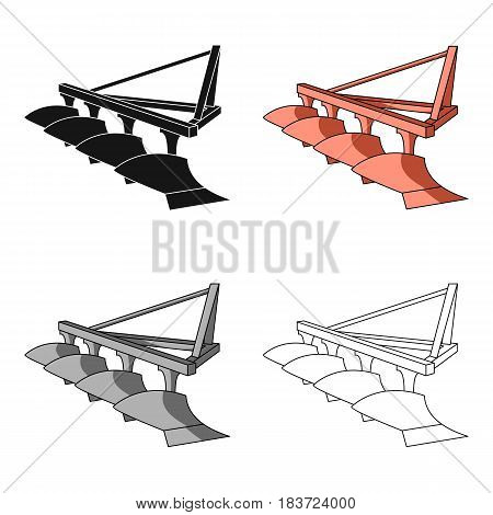 Red metal attachment to the tractor for plowing fields.Agricultural Machinery single icon in cartoon style vector symbol stock web illustration.