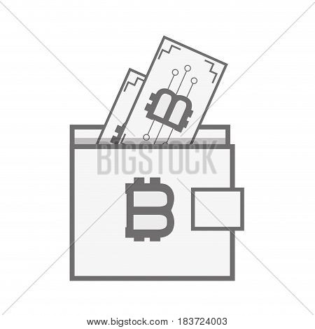 wallet icon and bitcoin money currency, vector illustration