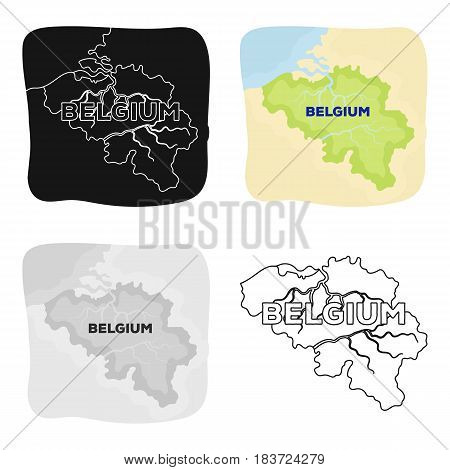 A fragment of the map of Belgium.The dark Belgian wolf. Belgium single icon in cartoon style vector symbol stock web illustration.