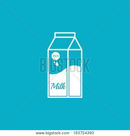 Paper bag with milk. Modern vector icon. Contemporary Illustration on blue background.