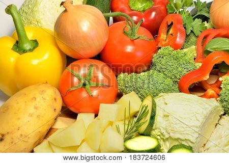 Raw organic vegetables, healthy diet, seasonal food