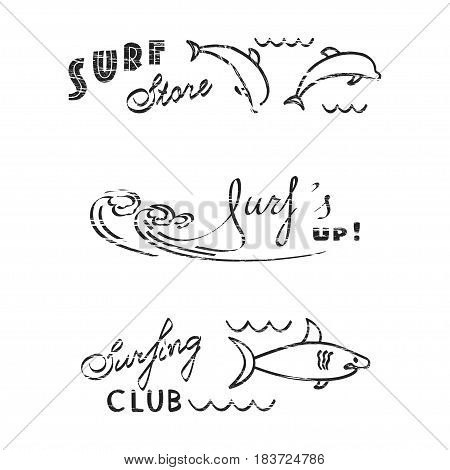 Set of logos for flyers, leaflets, signs with attrition effect. The perfect emblem for surf store or shop, surfing club or party, surfboards. Vector illustration eps 10