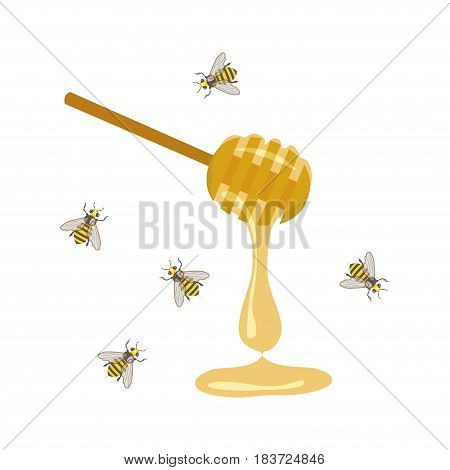 Vector illustration with consisting of bee and honey spoon. eps 10