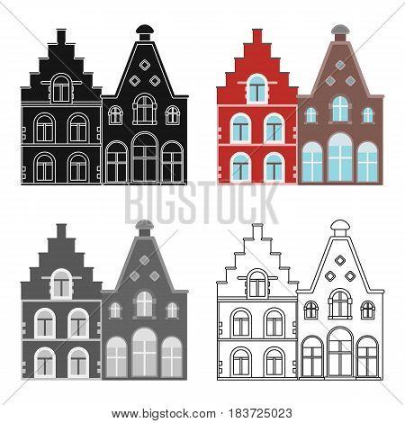 Housing in Belgium.The dark Belgian wolf. Belgium single icon in cartoon style vector symbol stock web illustration.