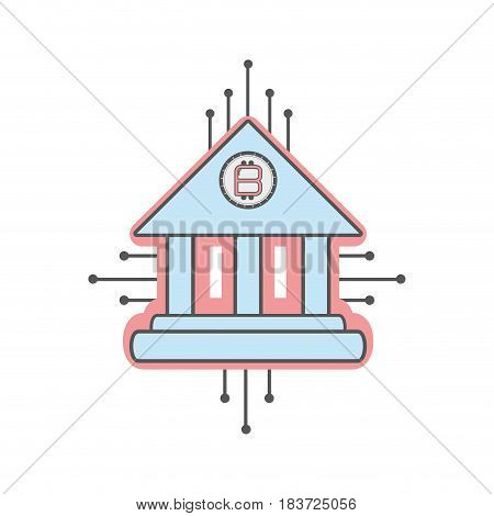 line icon circuit bank bitcoin money currency, vector illustration