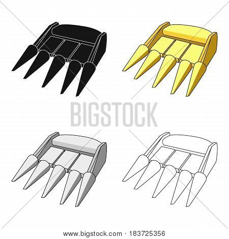 The yellow nozzle on a tractor with a cone-shaped spikes. The nozzle of agricultural machinery for the harvest.Agricultural Machinery single icon in cartoon style vector symbol stock web illustration.