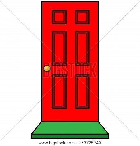 A vector illustration of a red door and mat.