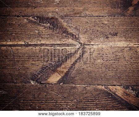 the old dark brown wooden planks background