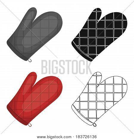 Kitchen glove.BBQ single icon in cartoon style vector symbol stock illustration .