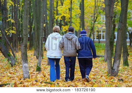 Two elderly women and man walk in autumn park with fallen leaves, back view