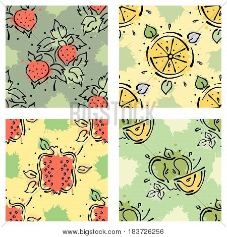 Vector Fruits Seamless Pattern Strawberry, Berry, Apple, Pomegranate, Lemon With Leaves, Blots Drops