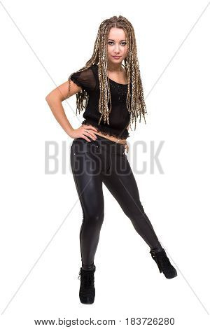 Portrait of young smiling woman with dreadlocks, isolated on white background in full length.